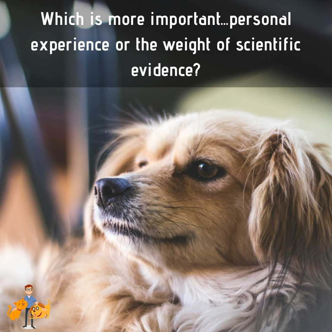 is personal experience and opinion better than evidence based vet care based on scientific evidence?