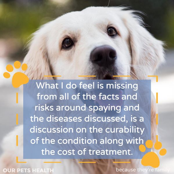 what i do feel is missing from the discussion about when to spay a female dog, or whether to spay them at all, is a discussion on the curability of the condition along with the cost of treatment