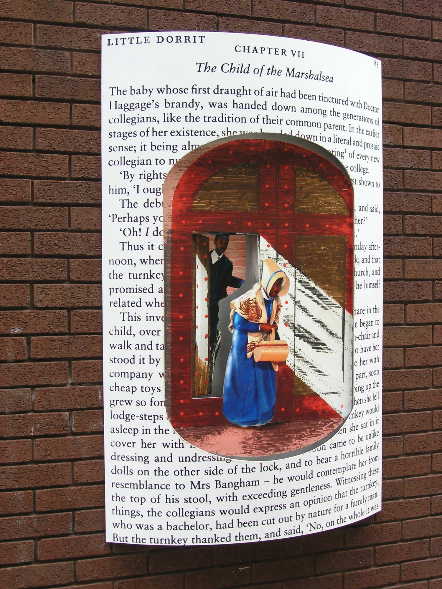 Little Dorrit exiting the gate of the Marshalsea Prison.
