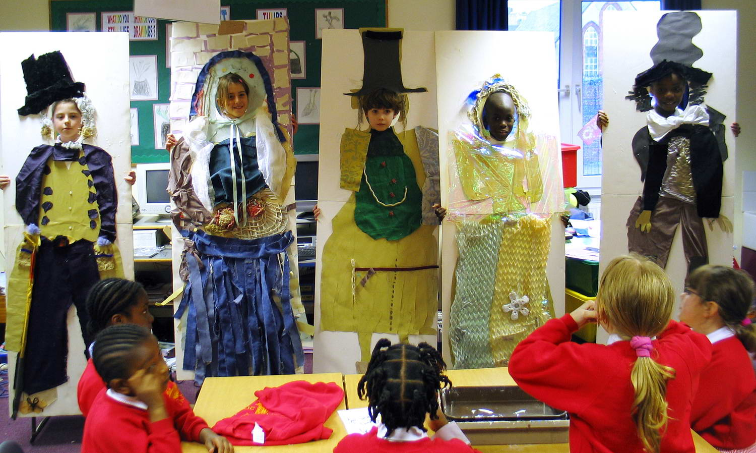 Workshops in a local primary school: children made the costumes of characters from Dickens' book.