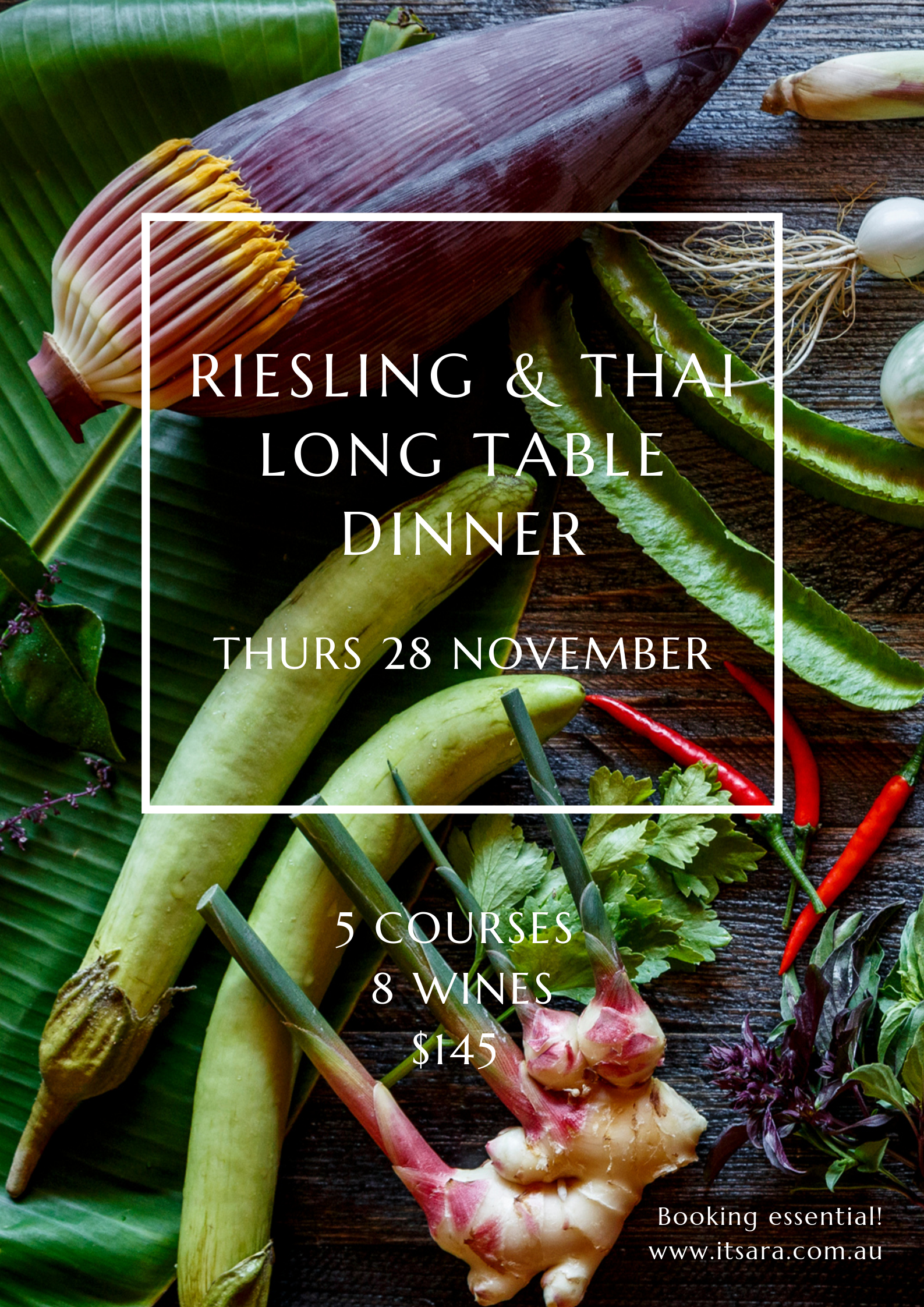 Itsara Riesling & Thai Long Table Dinner with Anja Lewis of Canny Grapes Perth Nedlands
