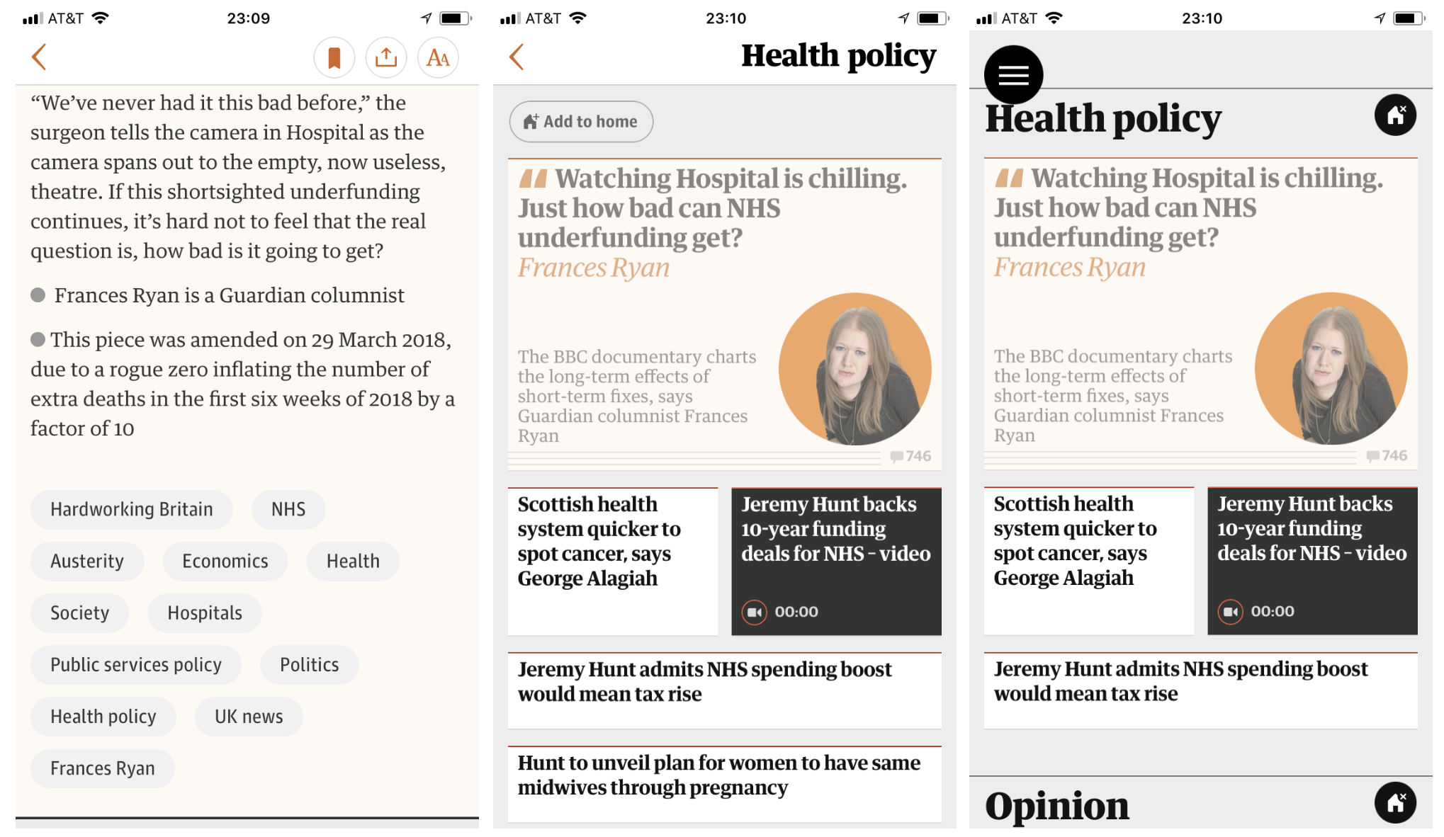In The Guardian app, the user can choose a topic (1) and add it to the home page just by clicking on it (2&3).