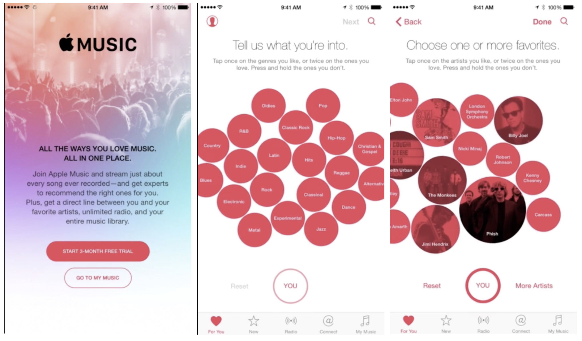 Apple has built an onboarding experience for it's music streaming platform that gathers a lot of information from the user even before the first song is played.