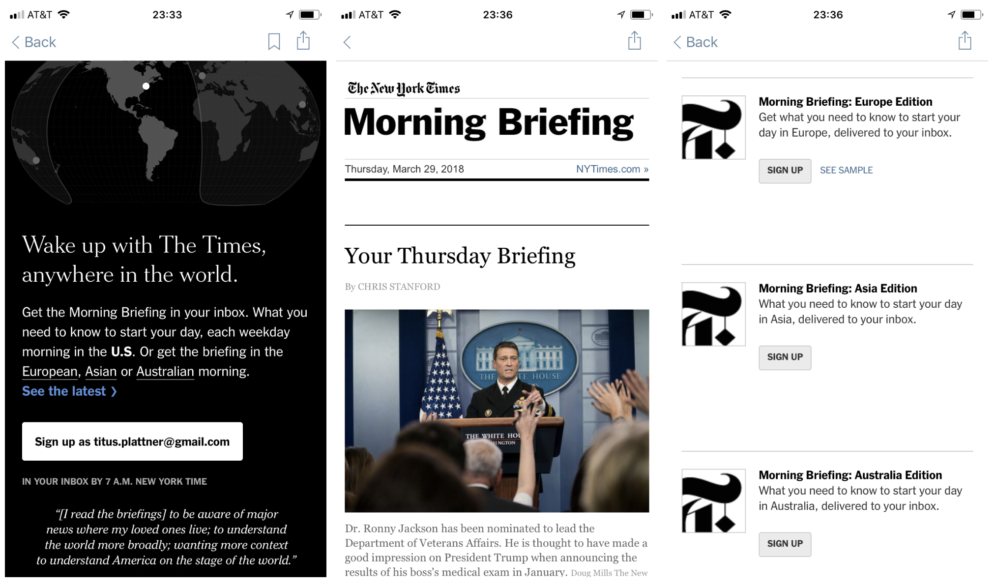 """The New York Times now has four versions of its """"Morning Briefing,"""" but still no personalization."""