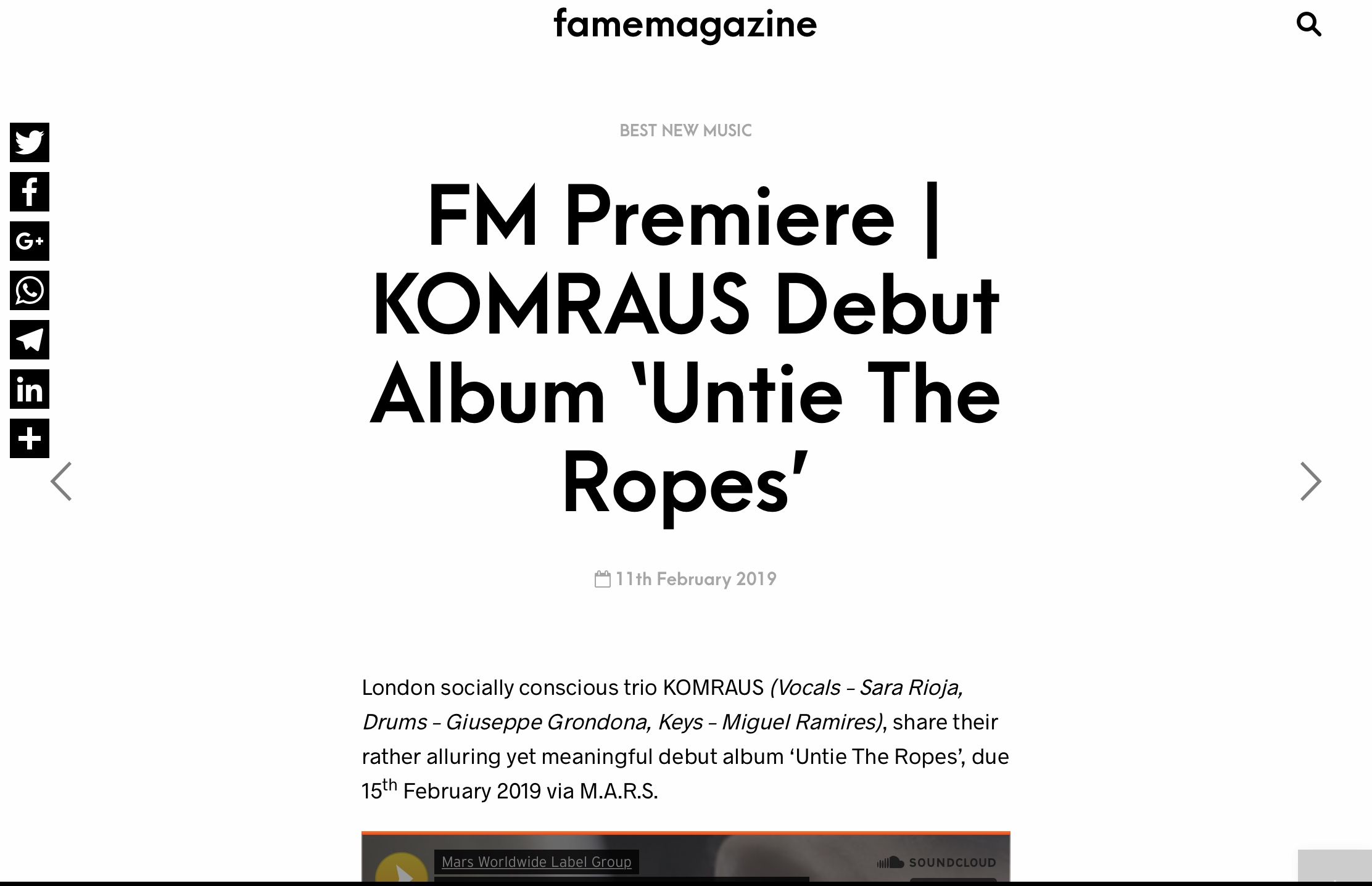 "FAME MAGAZINE PREMIERE of our Album 'Untie the ropes' - ""The intense album, recorded live in one take at Andy Whitmore Studios in West London, works as a sparkling collection of cinematic trip-hop infused sounds."""