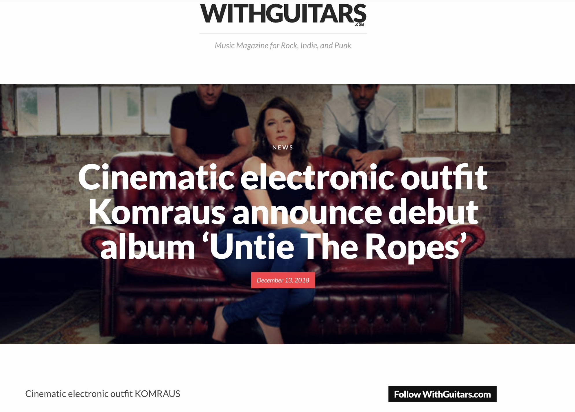 WITH GUITARS-Music Magazine for Rock, indie and Punk- announcing in a full article our album. - ""
