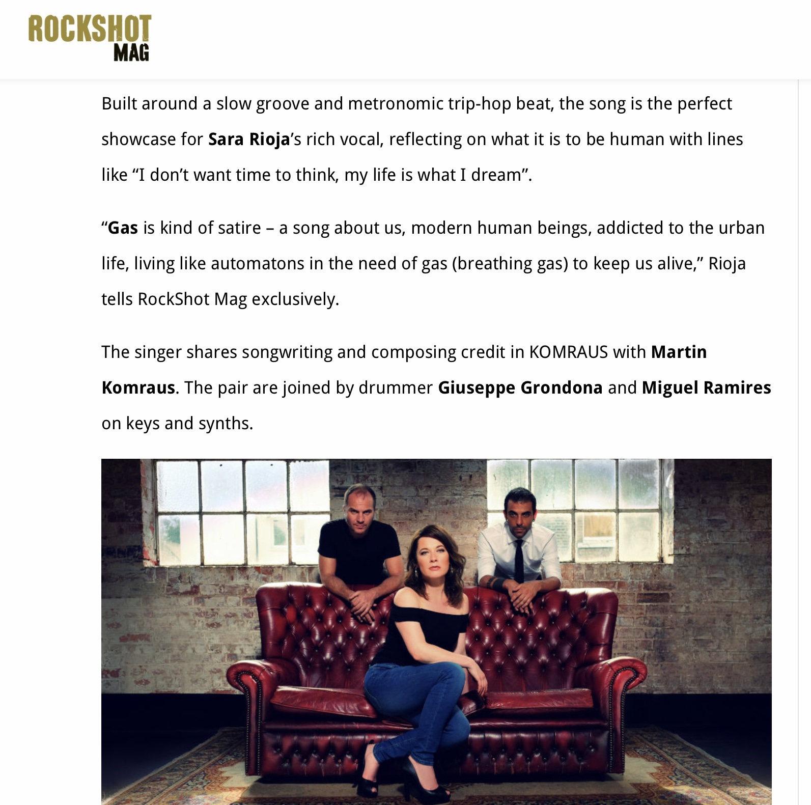 ROCKSHOT MAG-'gas' premiere - Review about the song and KOMRAUS sound