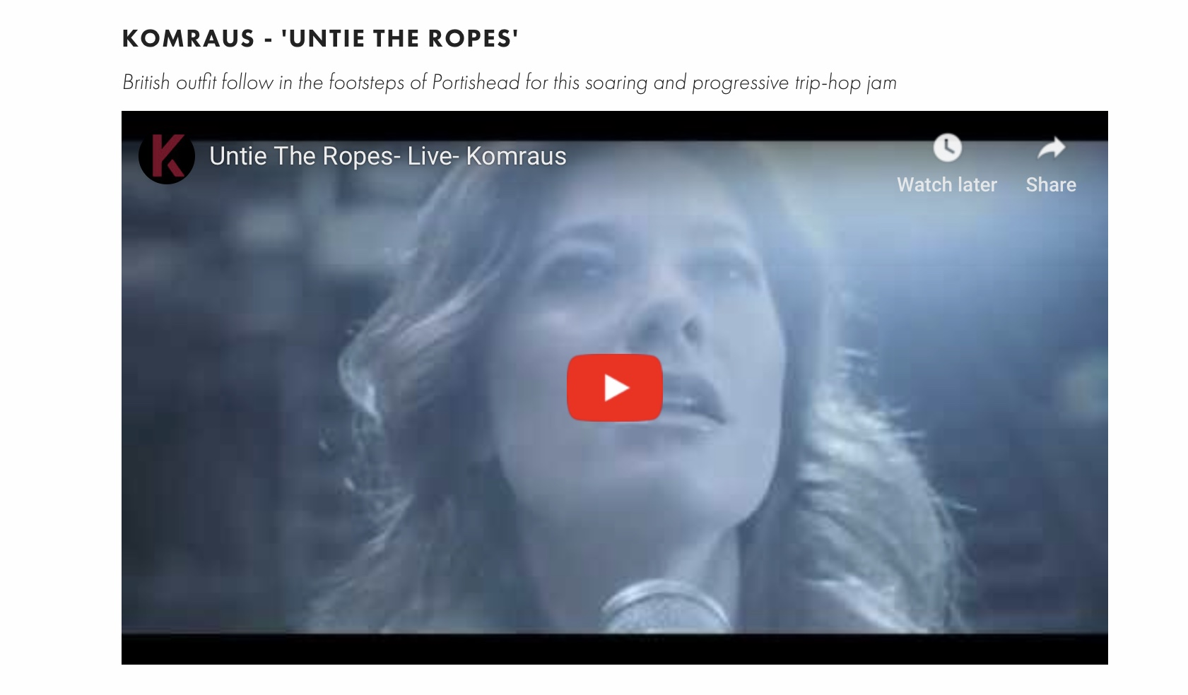 MYSTIC SONS Mag featuring 'Untie the ropes' song and video -