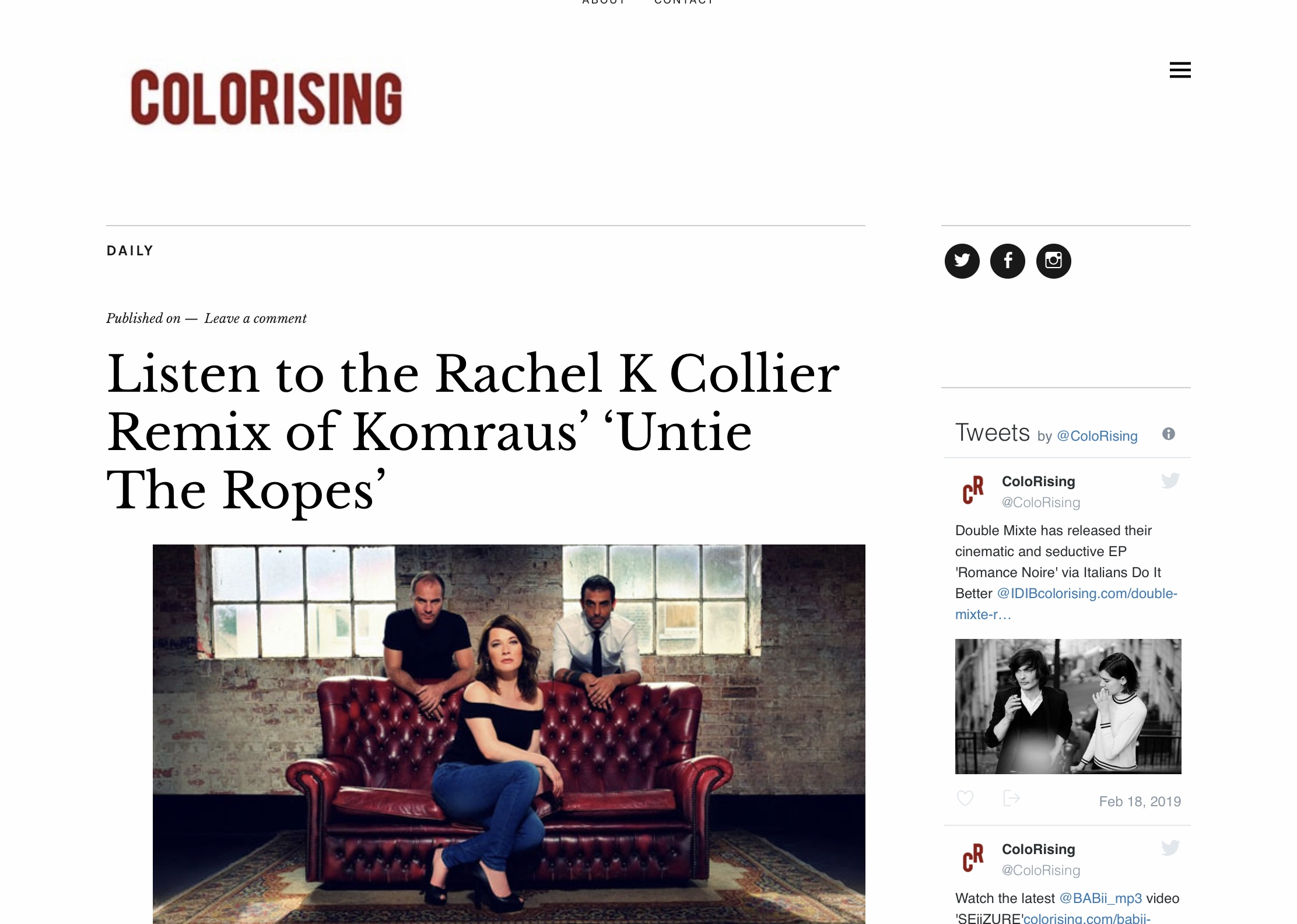 COLORISING MAGAZINE on 'Untie the ropes' Remix -