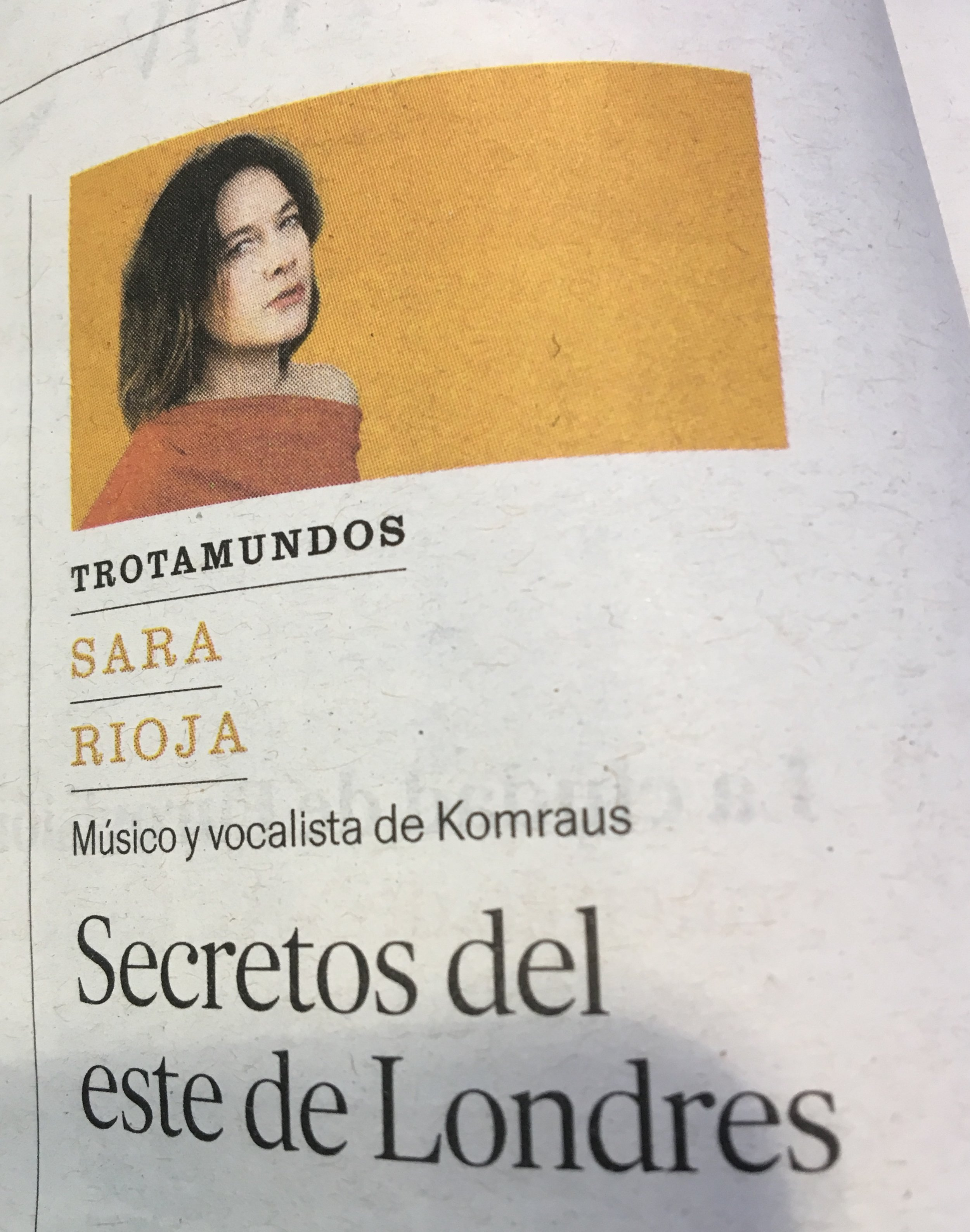 Interview. EL PAIS, National newspaper, SP - Interview to Sara Rioja, singer and composer, on paper and digital