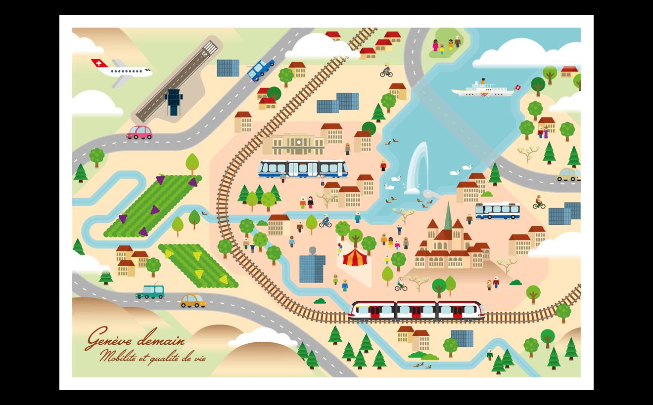 Carte illustrée de Genève et la rade