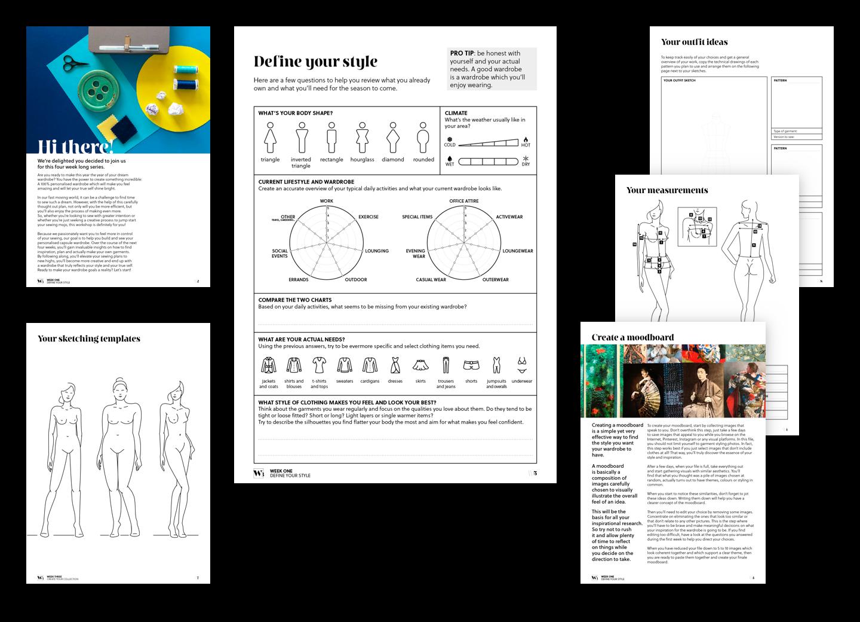 Exemples de diverses pages interne des cahiers.