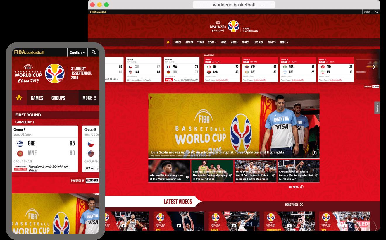 Capture d'écran sur site web de la coupe du monde de basket.