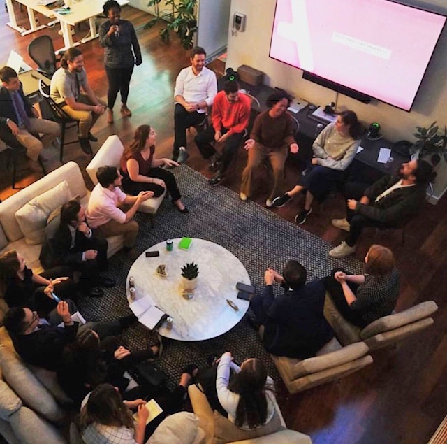 Huddle up!  Ad Club discusses the importance of building your portfolio with some creative professionals.