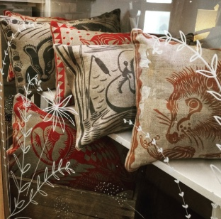 Hand Printed Linen Cushion  - Gorgeous imagery and colourways as featured in Country Living available at Georgie & Flo Upper Paul St Exeter