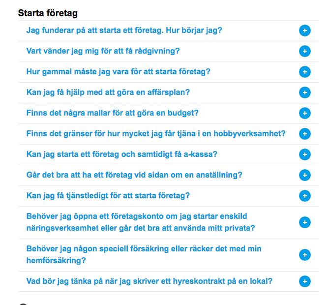 För fler F.A.Q., besök Verksamt.se