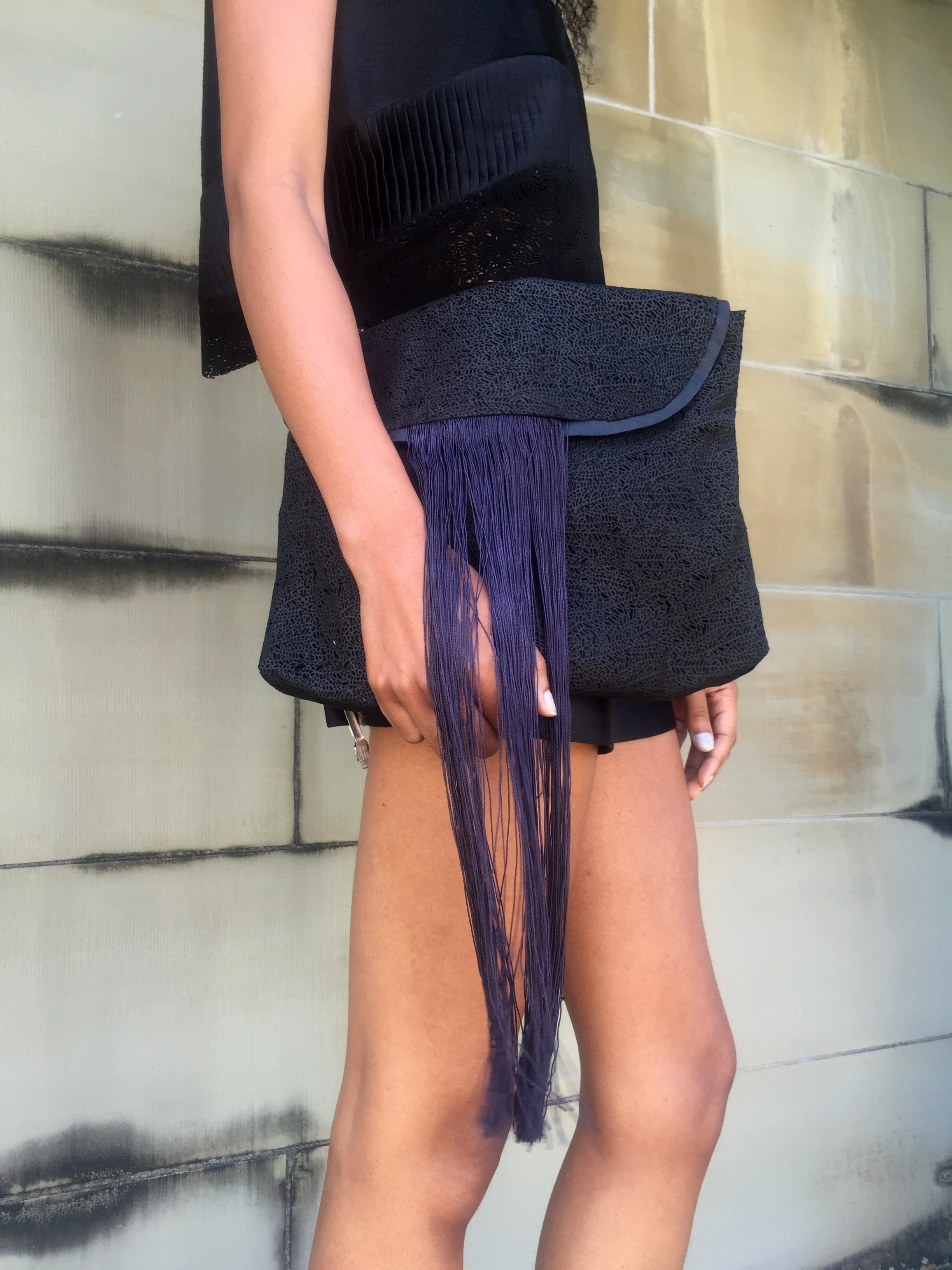 Pony Hair, Crystal-Pleat Silk, & Laser-Cut Leather Crop Top + Laser-Cut Leather & Fringe Clutch