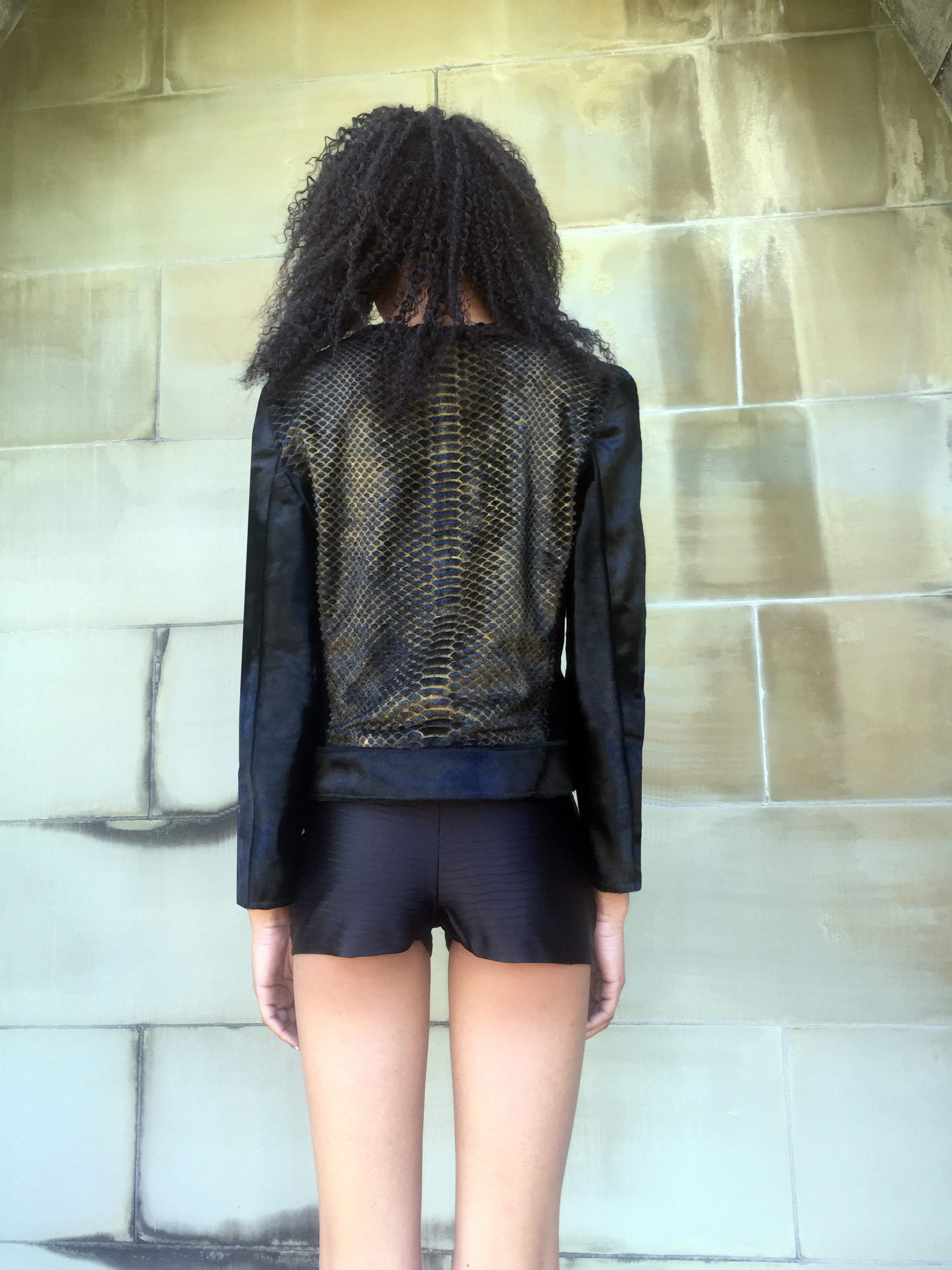 Laser-Cut Black & Gold Pony Hair Biker Jacket + Silk Wave Pleat Short