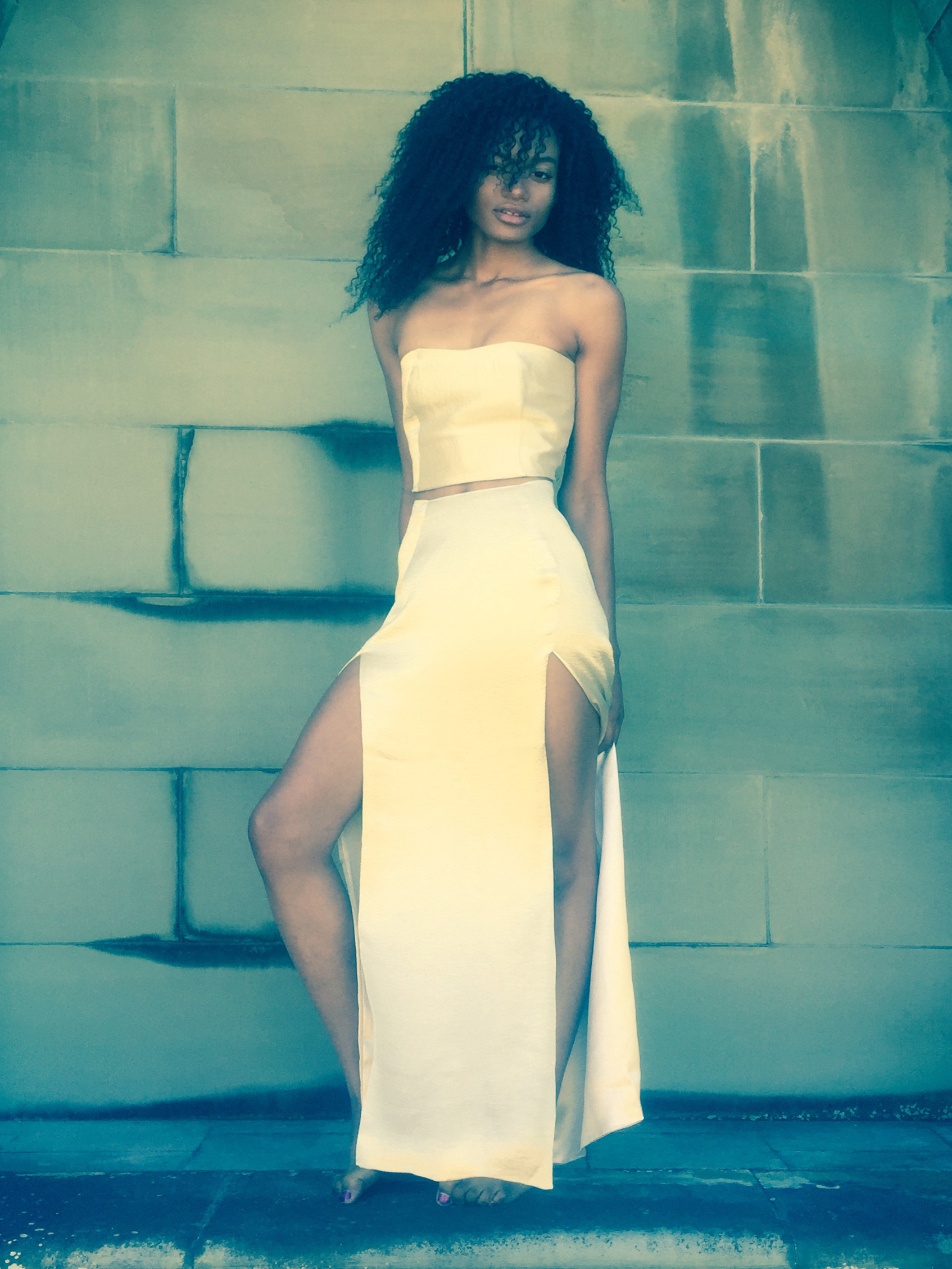 Liquid Lame (Gold Silk Lame) Fitted Crop Top & Skirt with Thigh-High Front Slits