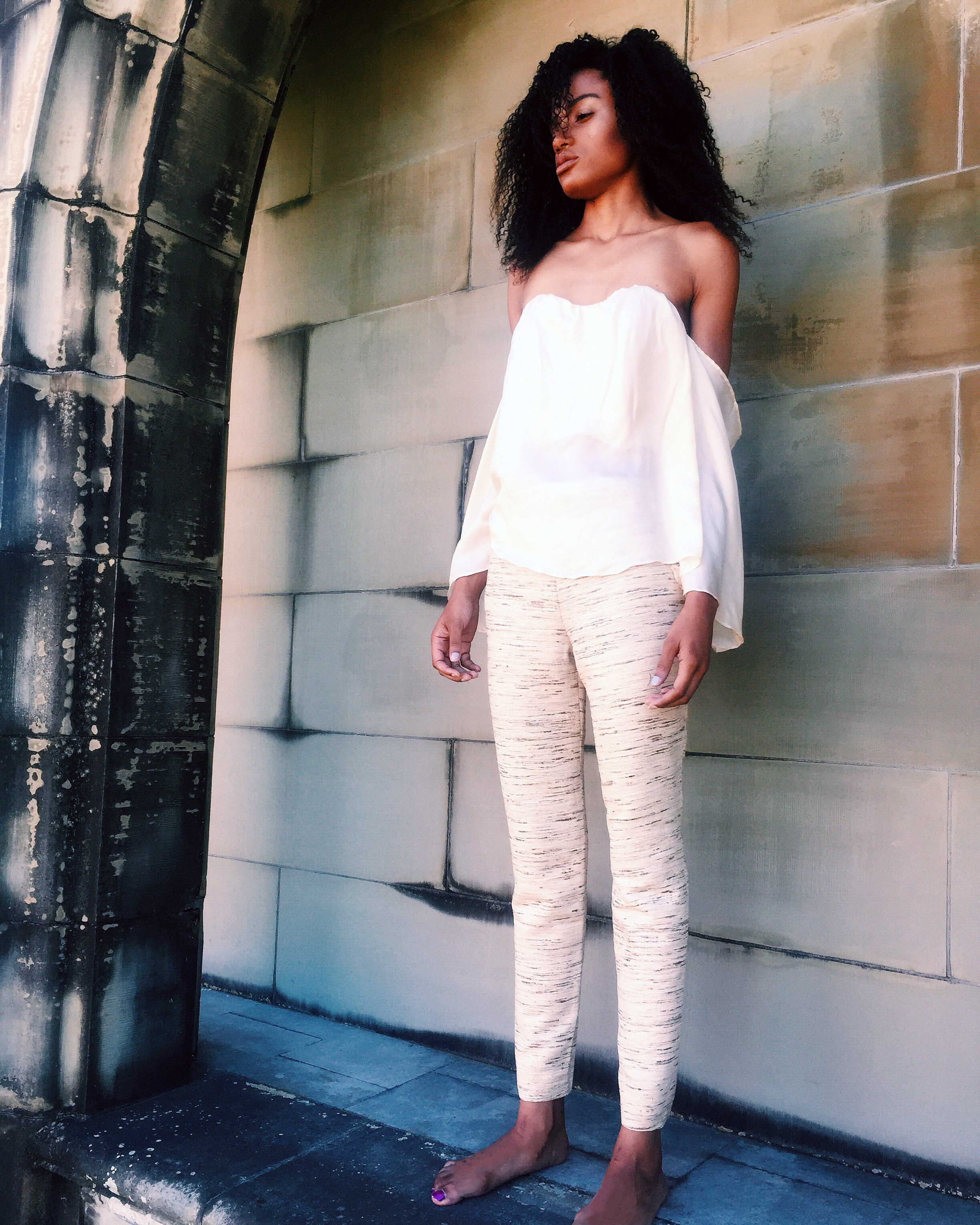 "Ivory Silk ""Falling"" Off-Shoulder Top & Raw Silk Trouser Pant"