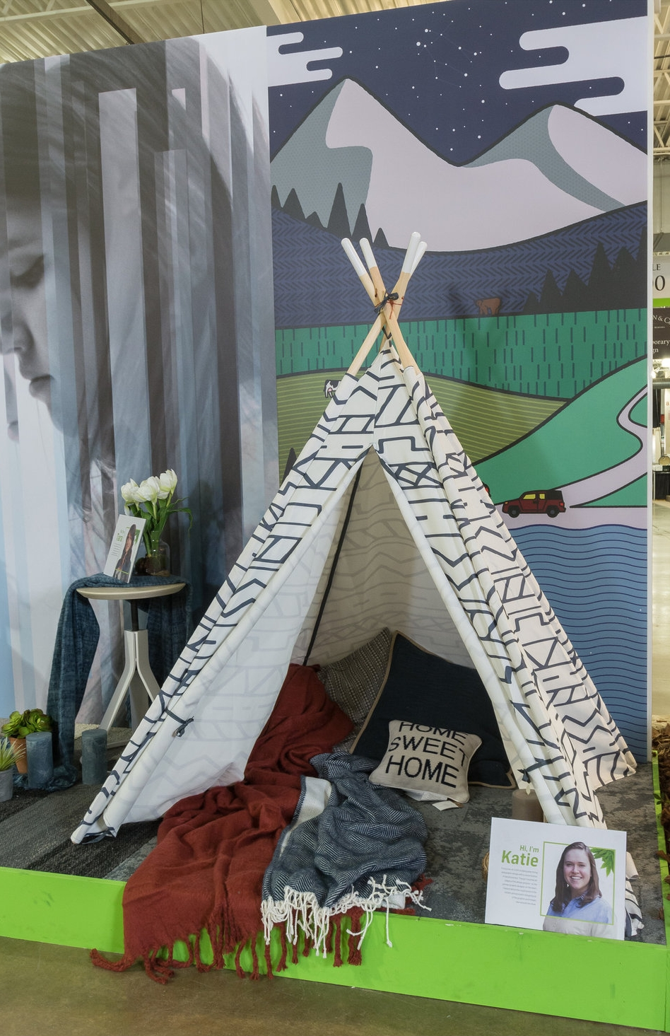 - Each student had a space to create a wallcovering and furniture arrangement that displayed to create a