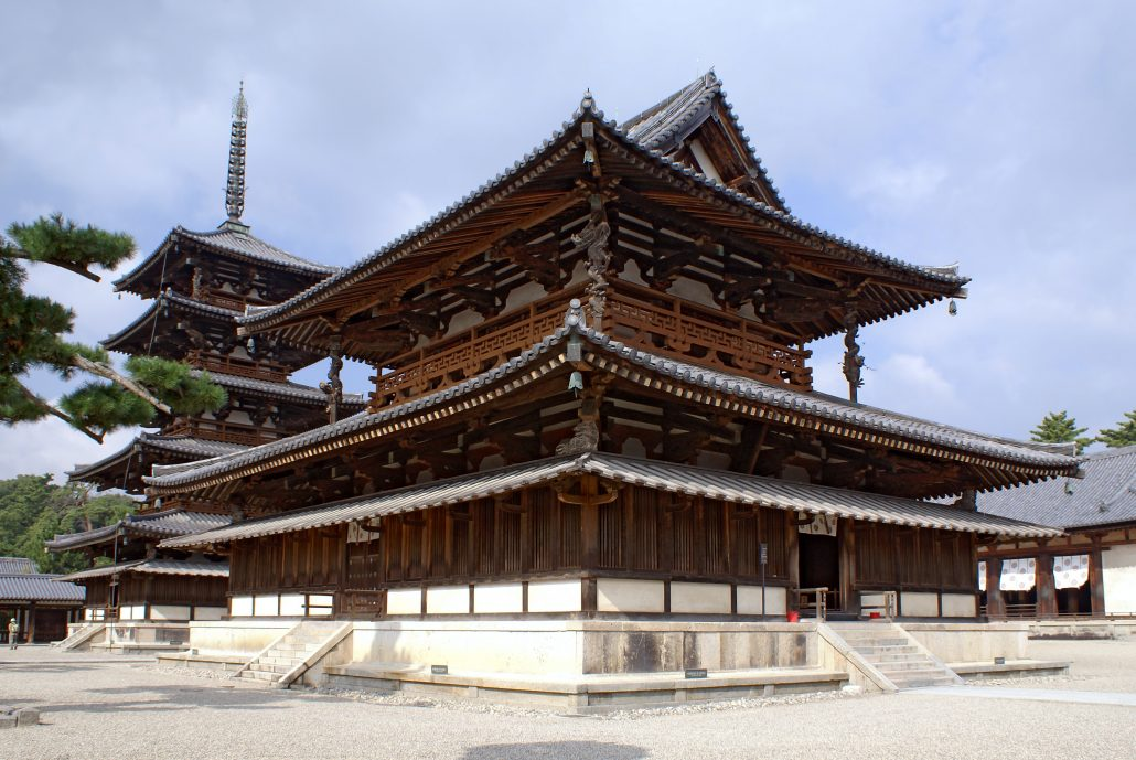 Golden Hall and Five-storied Pagoda of Hōryū-ji, a Buddhist temple in Ikaruga, Nara prefecture, Japan. Oct 2006 by  663highland