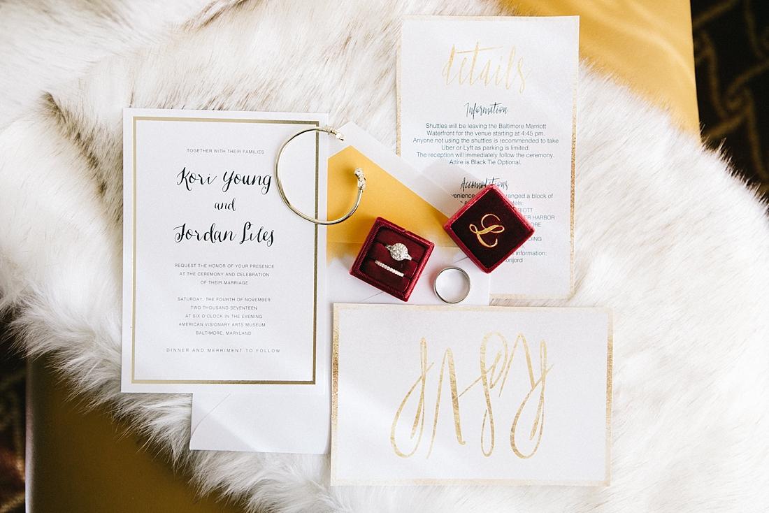 Marryland Weddings Modern Fall American Visionary Arts Museum Burgundy Gold Sarah Murray Photography_0822.jpg