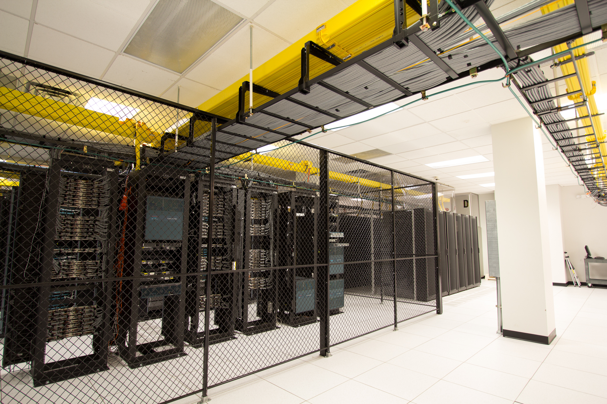 The core infrastructure is protected via a secure and locked cage.