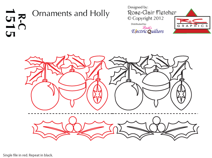 Ornaments and Holly (Linda's Elecric Quilters)