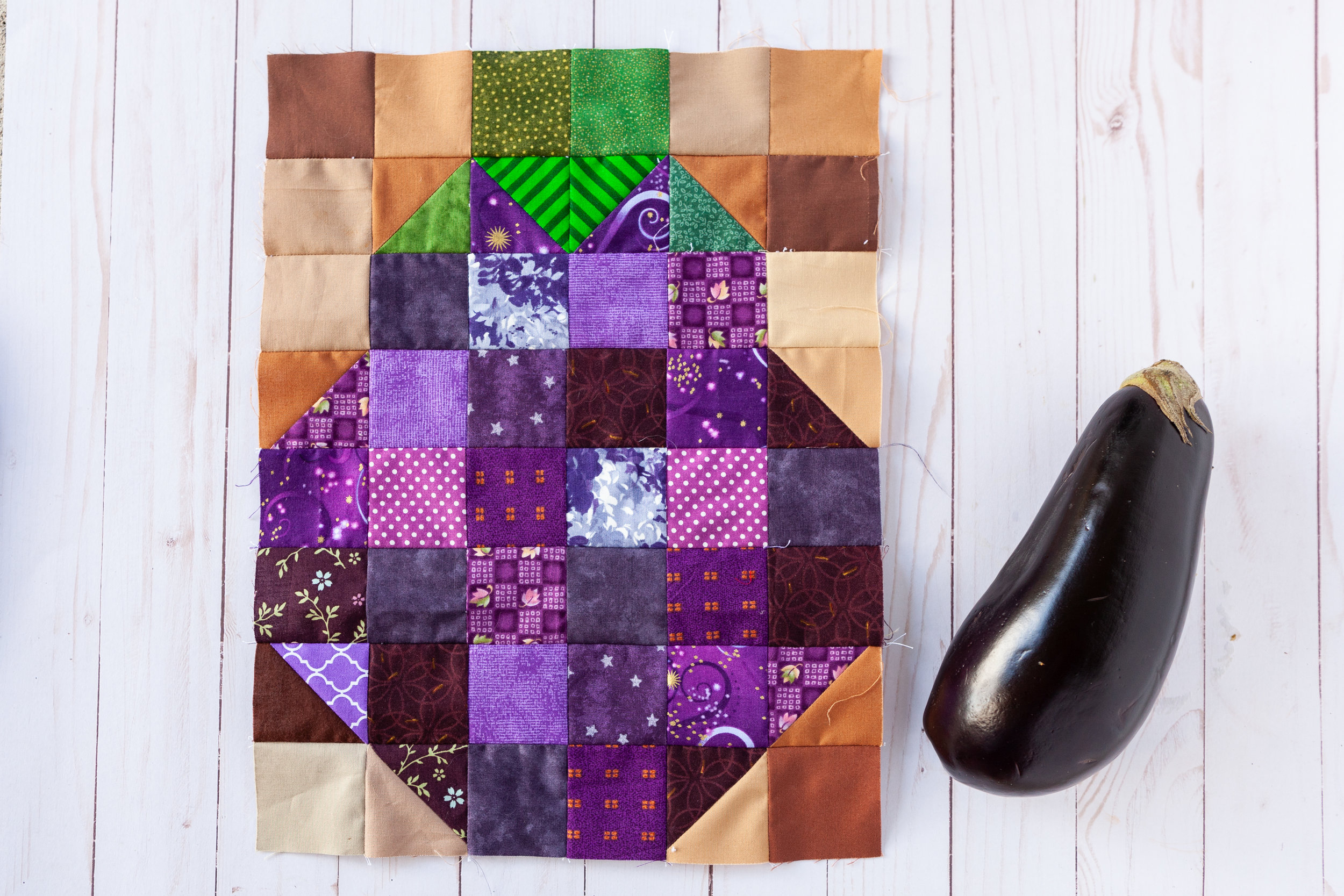 Eggplant Block - Veggie Patch by Katie Mae Quilts