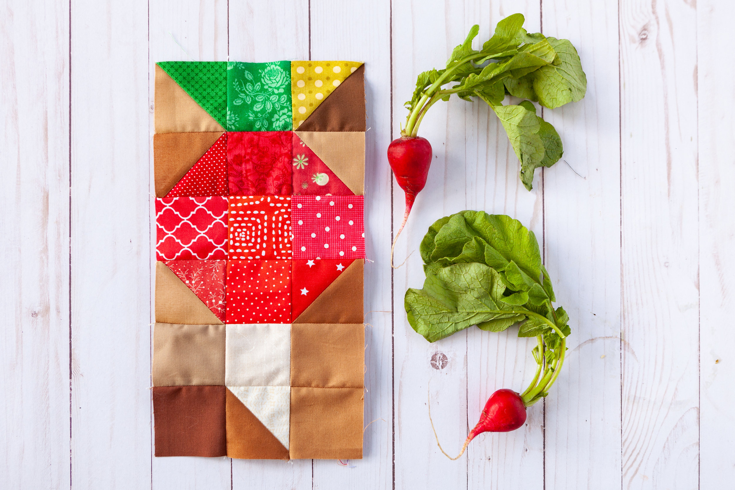 Radish - A Veggie Patch Quilt Block by Katie Mae Quilts