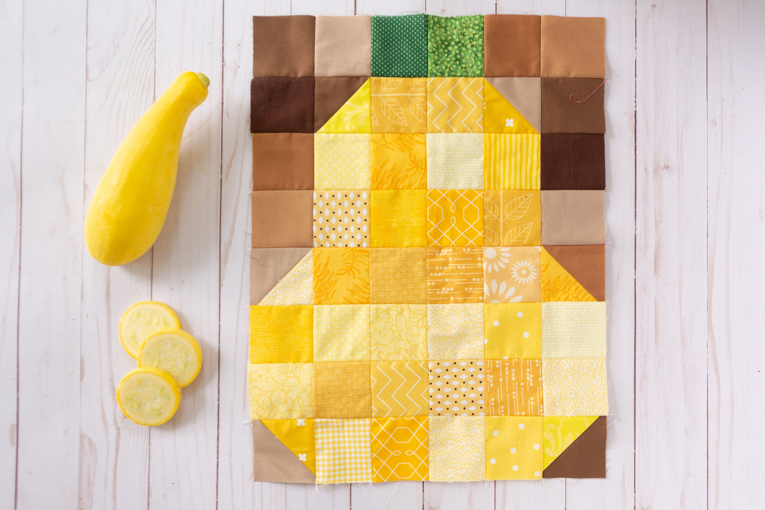 Squash - a Veggie Patch Quilt Block by Katie Mae Quilts