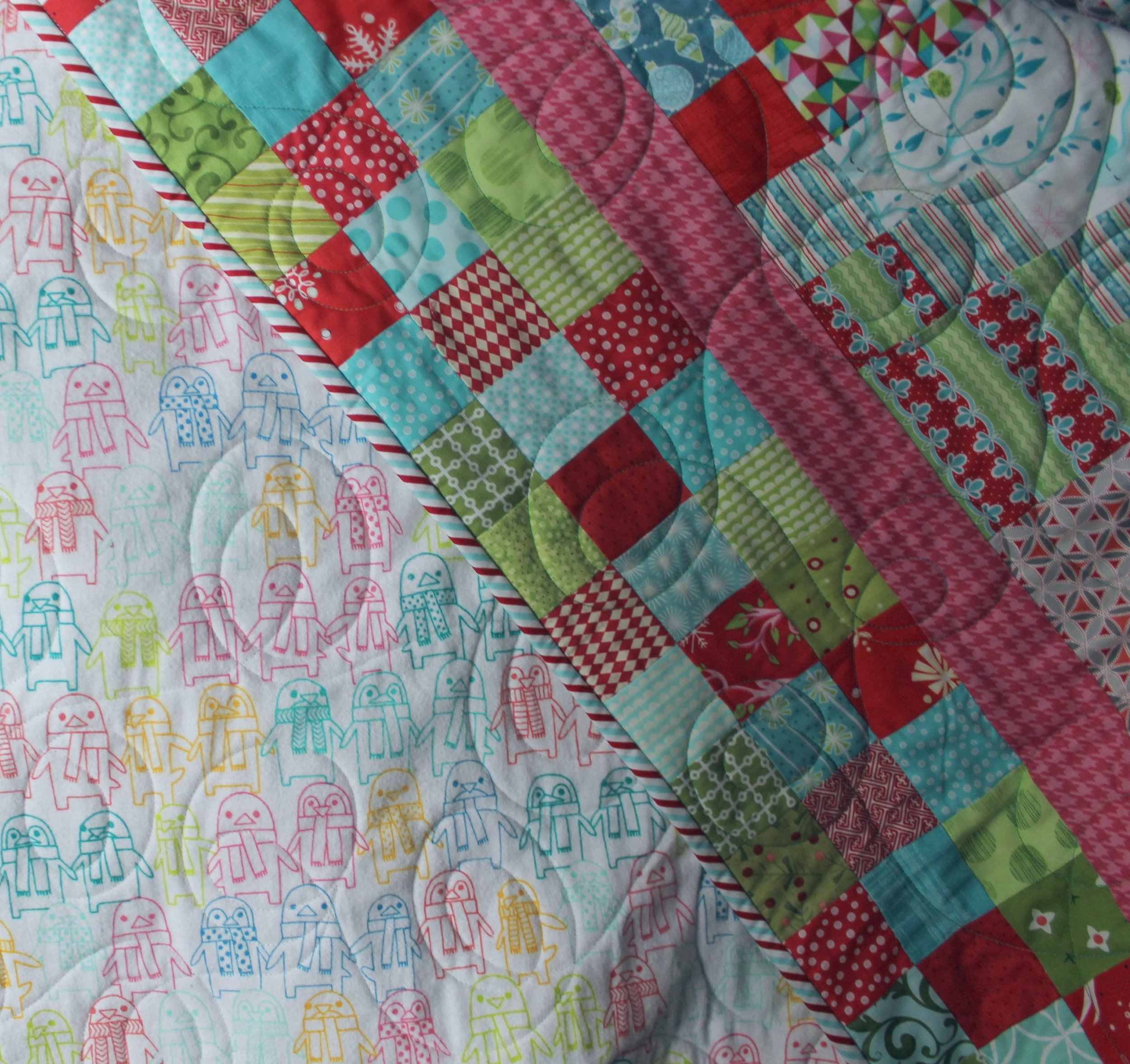 Christmas Double Four Patch Quilt by Katie Mae Quilts