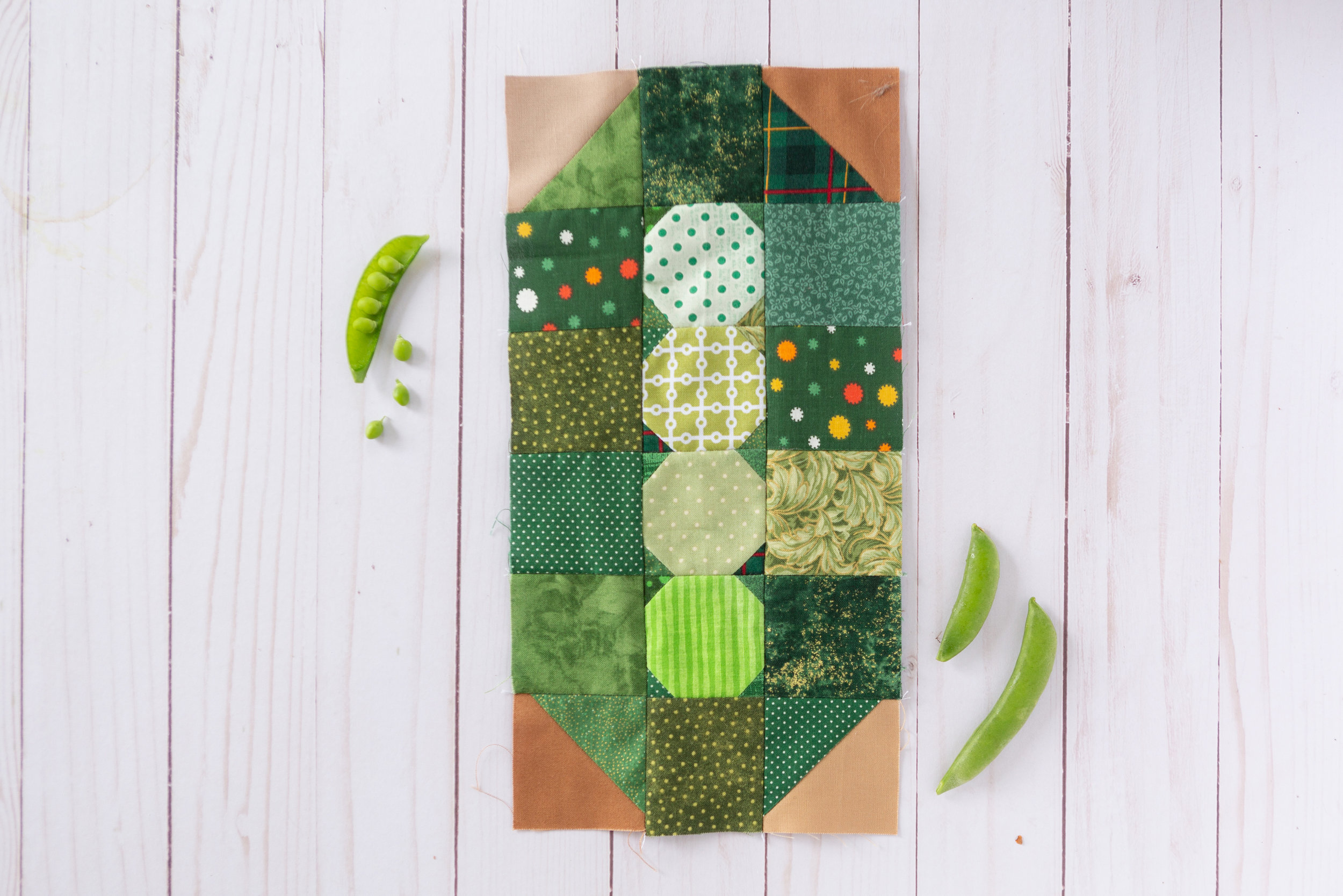 Peas in a Pod - a Veggie Patch Block by Katie Mae Quilts