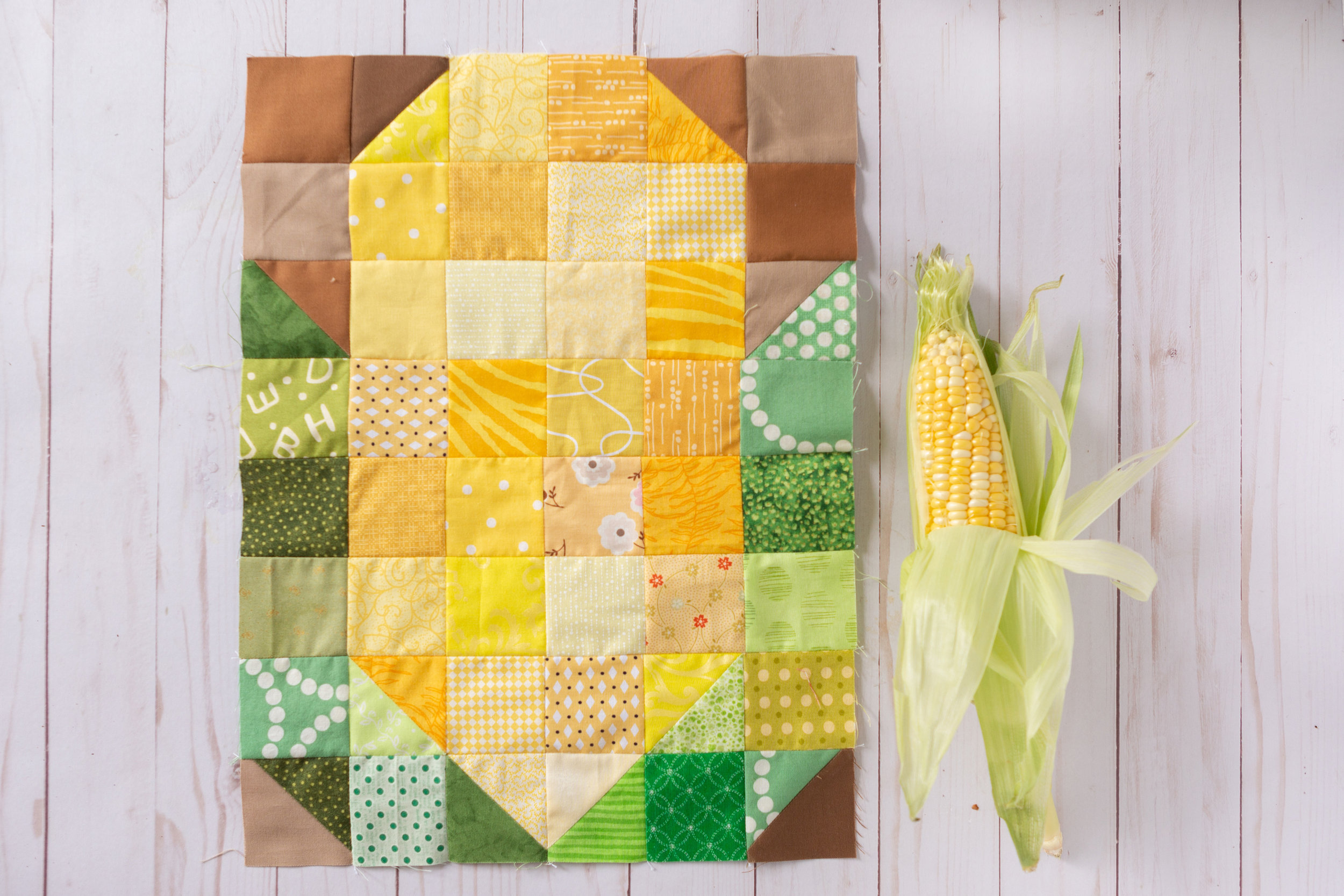 Corn on the Cob - A Veggie Patch Block by Katie Mae Quilts