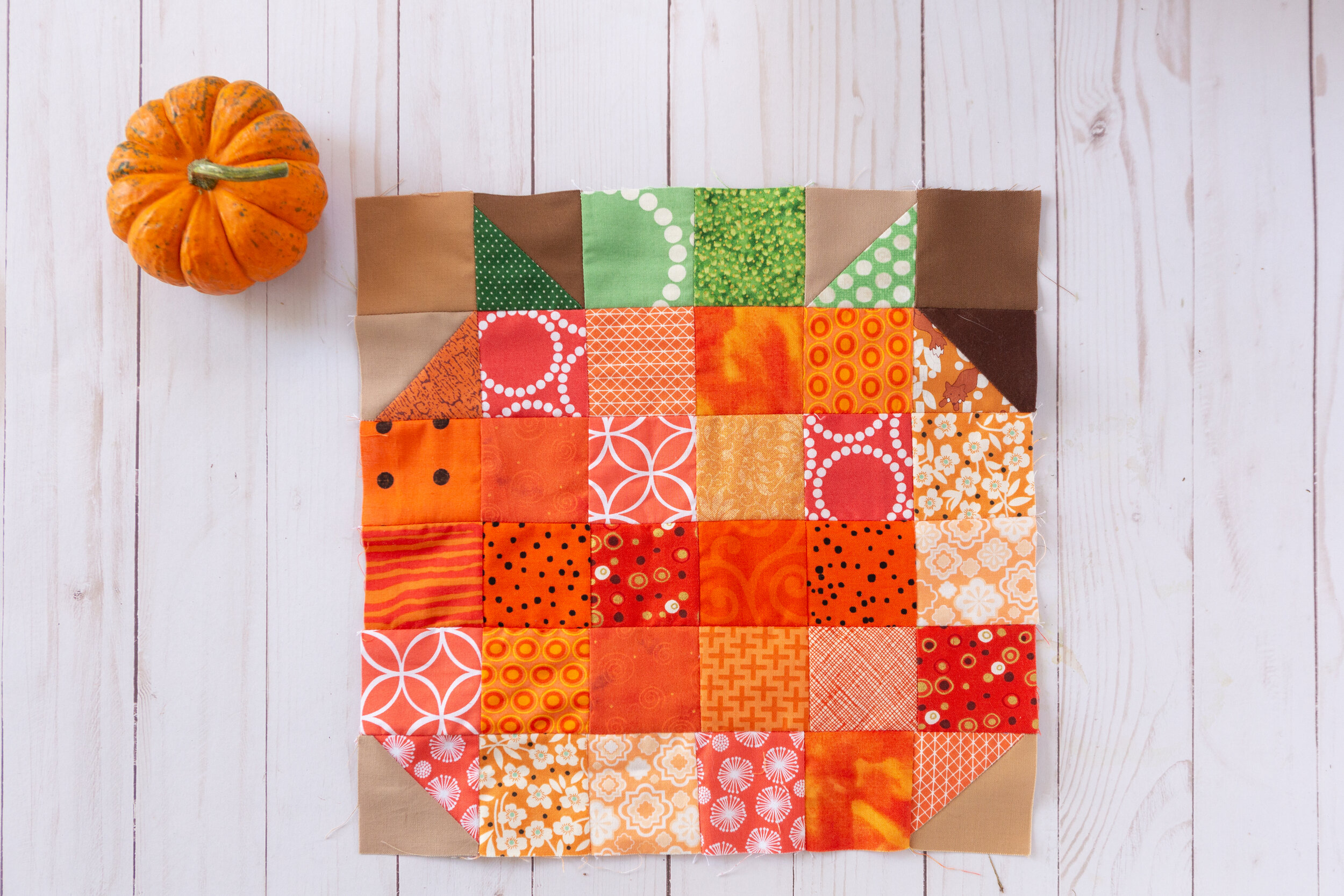 Pumpkin - A Veggie Patch Block by Katie Mae Quilts