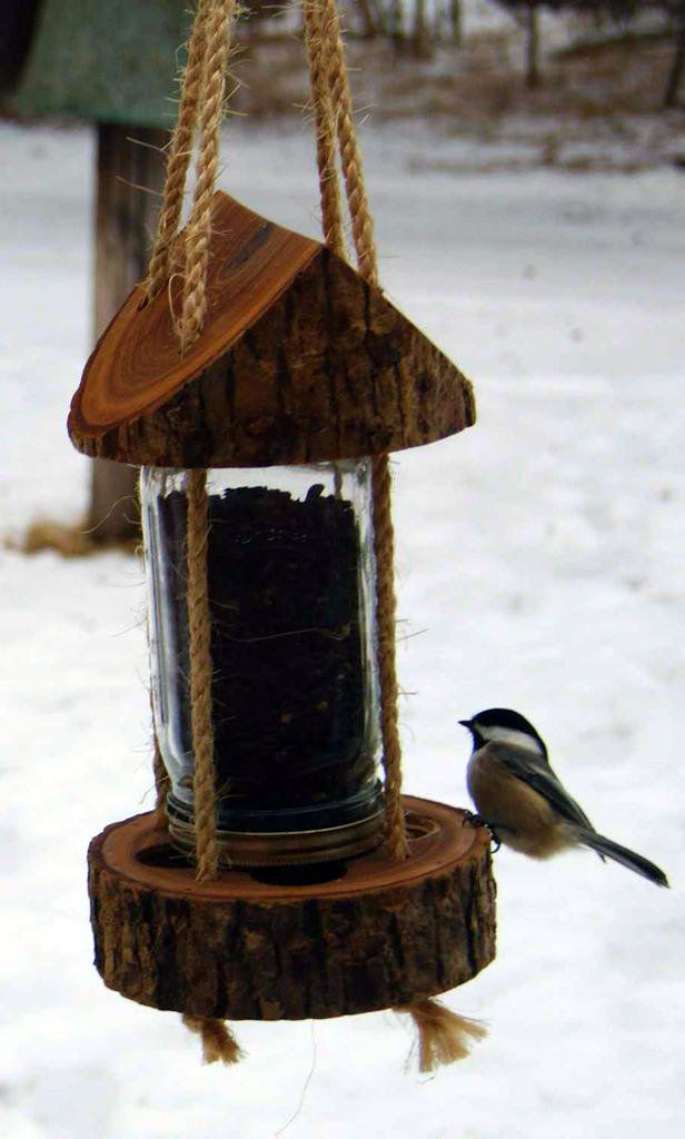 Build a  Tree Trunk Bird Feeder (via Rustic Wood on Instructables )