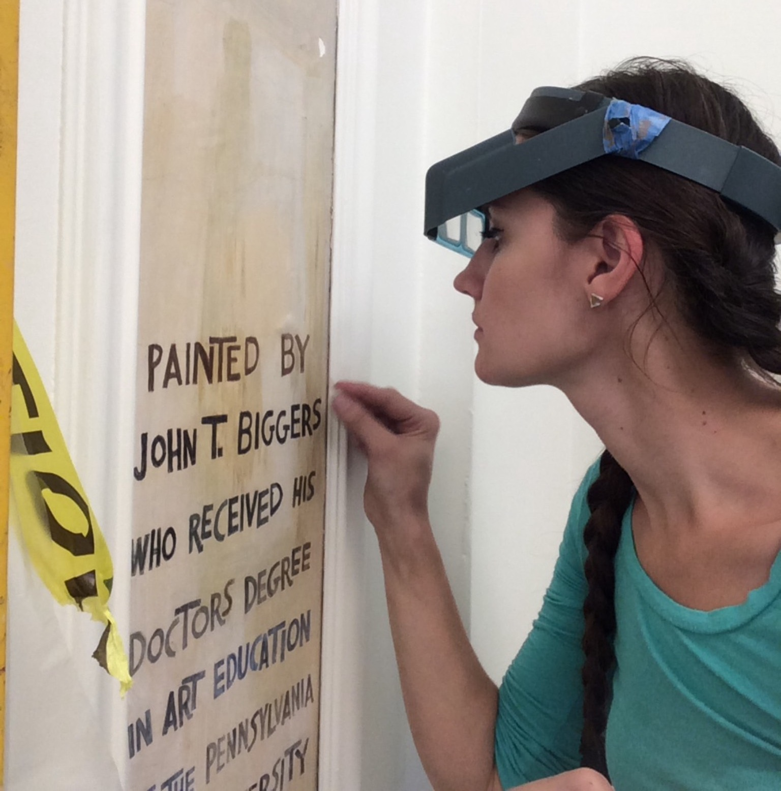 Jacintha Clark at work as an architectural conservation specialist