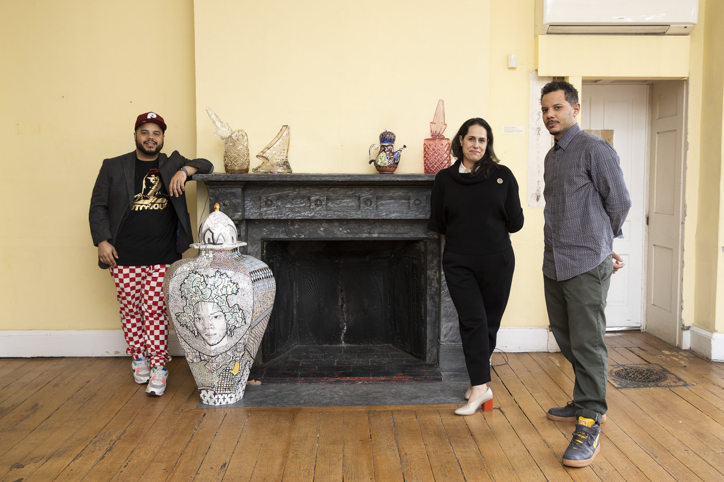 Curator Elizabeth Essner with the artists of  Graffiti & Ornament , Roberto Lugo (left) and Leo Tecosky (right).