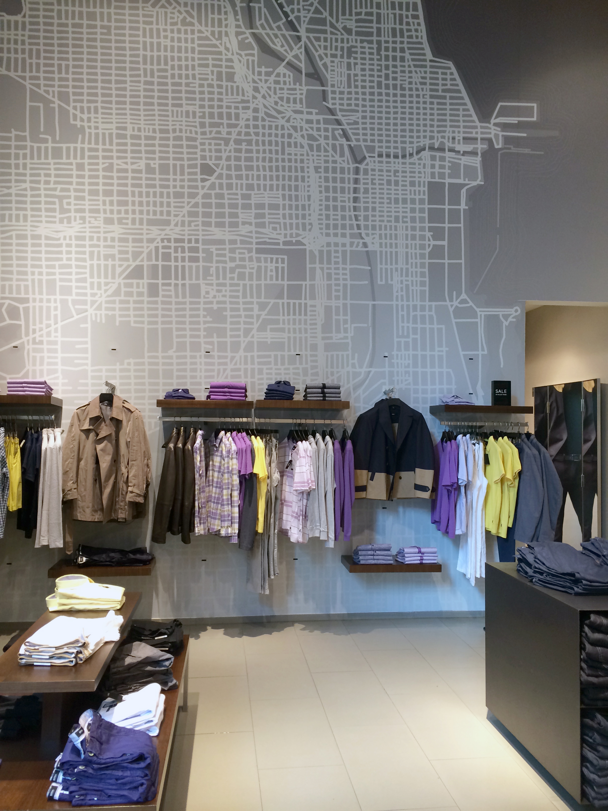 HUGO BOSS Store  Chicago, Illinois  Placemaking super graphics for in-store wall installation.