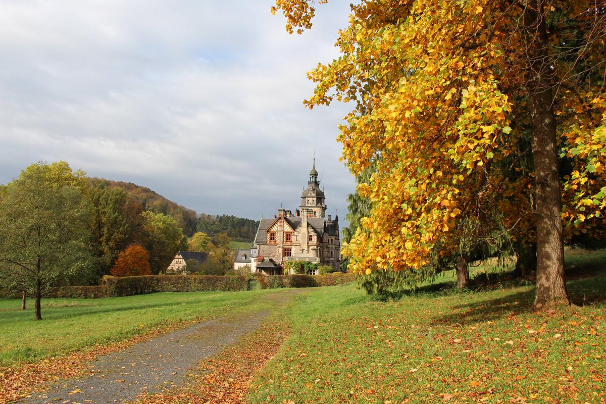 Herbststimmung im Park von Schloß Ramholz in Schlüchtern: goldener kann Herbst kaum sein