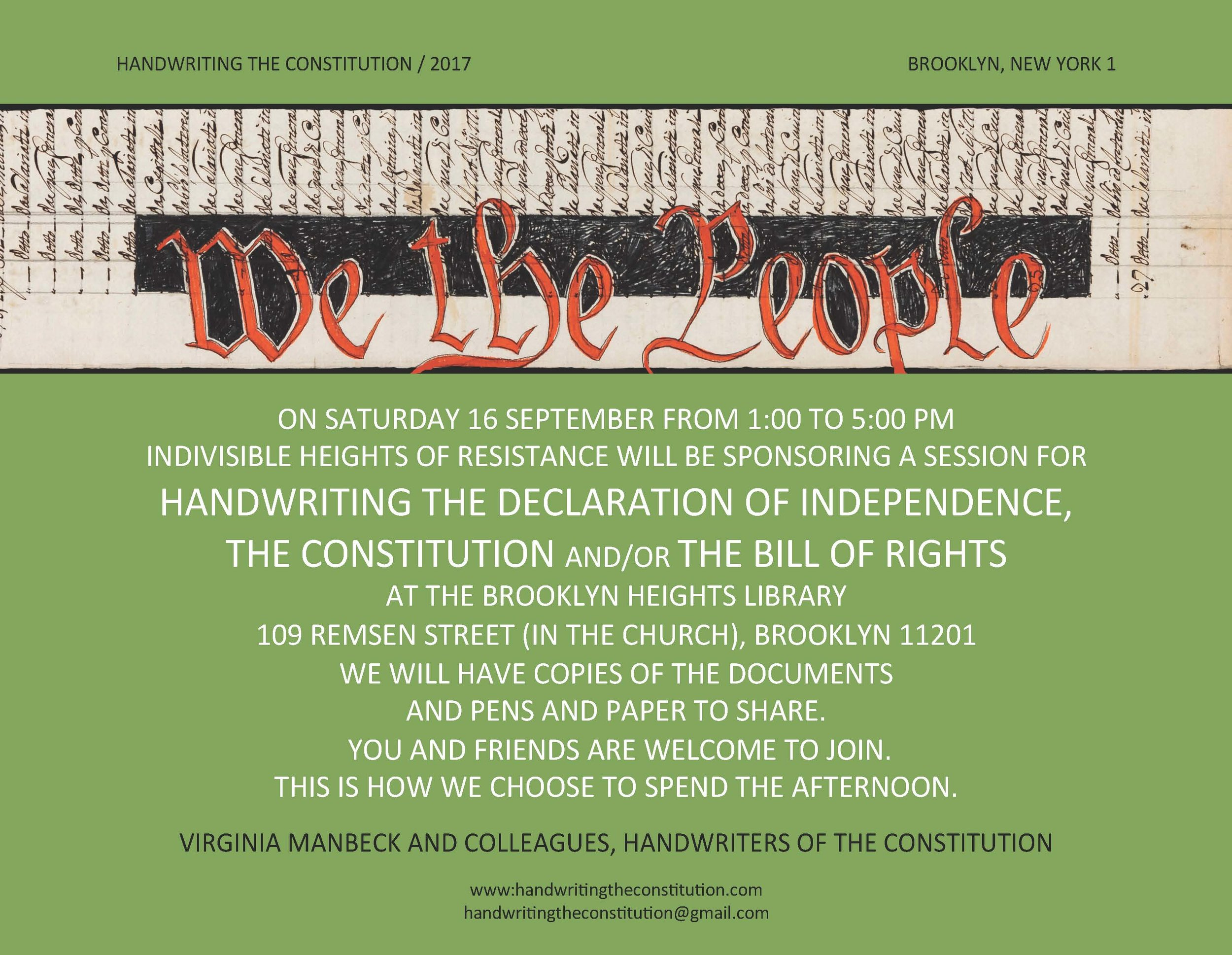 16 SEPTEMBER 2017BROOKLYN, NY  - COLLABORATORS VIRGINIA MANBECK,INDIVISIBLE HEIGHTS OF RESISTANCE