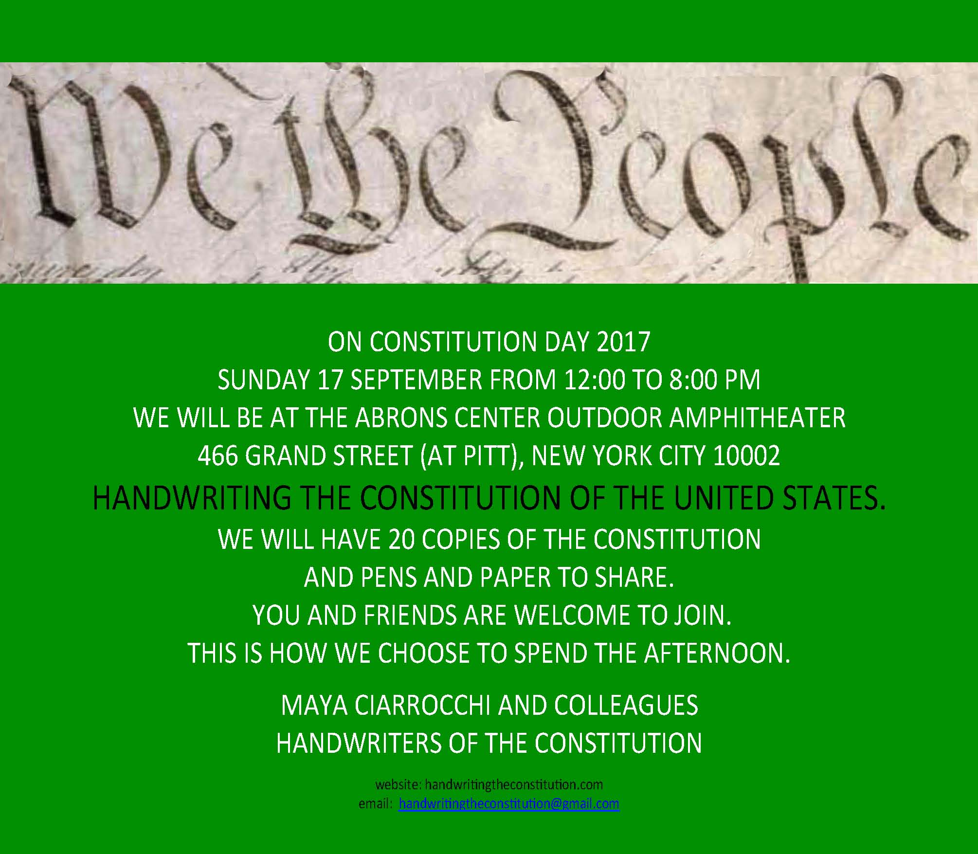 17 SEPTEMBER 2017CONSTITUTION DAYNEW YORK CITY  - COLLABORATOR MAYA CIARROCCHI
