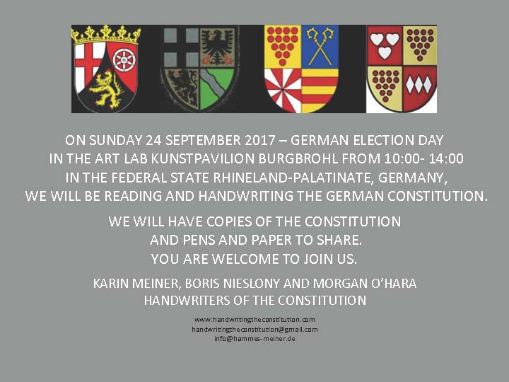 24 september 2017german election dayburgbrohl, Germany - collaborators Karin meiner, boris nieslony and morgan o'hara