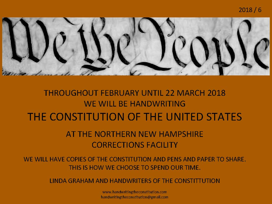 FEBRUARY UNTIL22 MARCH 2018 - SESSION 48NORTHERN NEW HAMPSHIRE CORRECTIONS FACILITYCOLLABORATOR LINDA GRAHAM