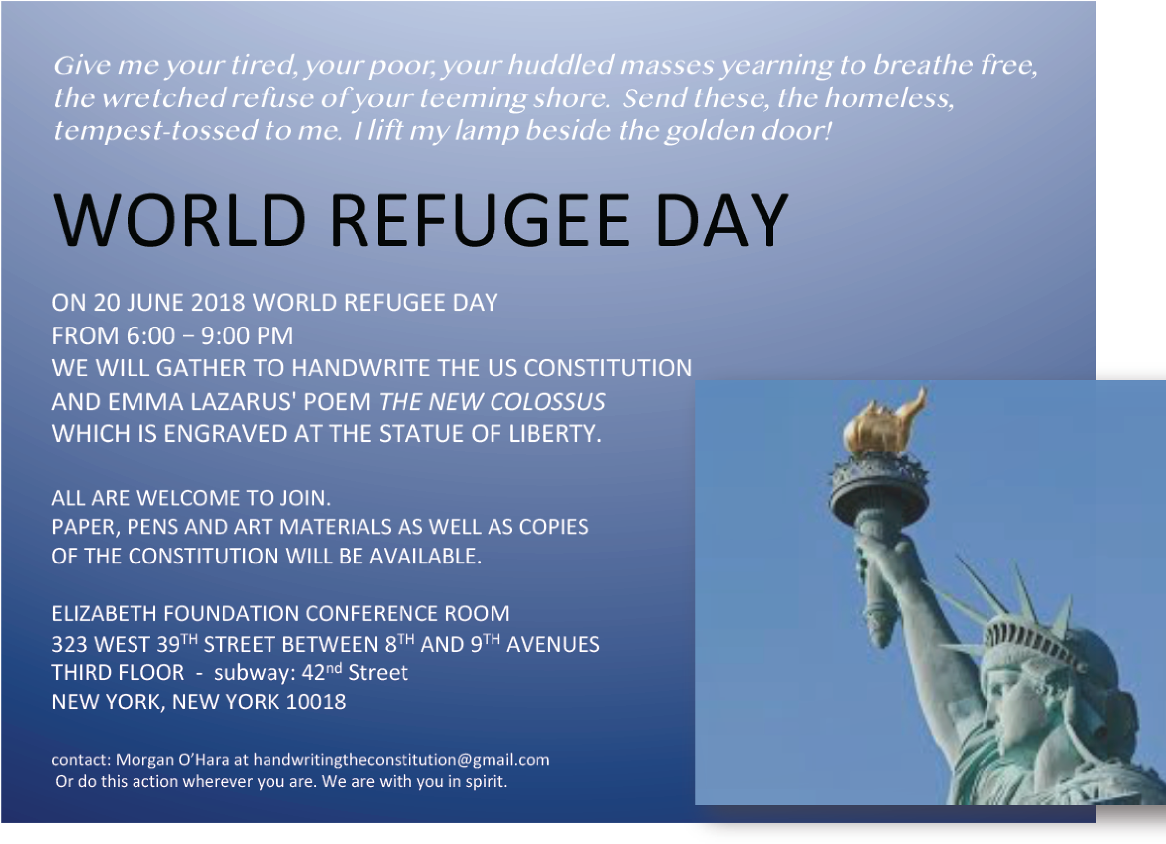 20 JUNE 2018WORLD REFUGEE DAYNEW YORK CITY - SESSION 57MORGAN O'HARA