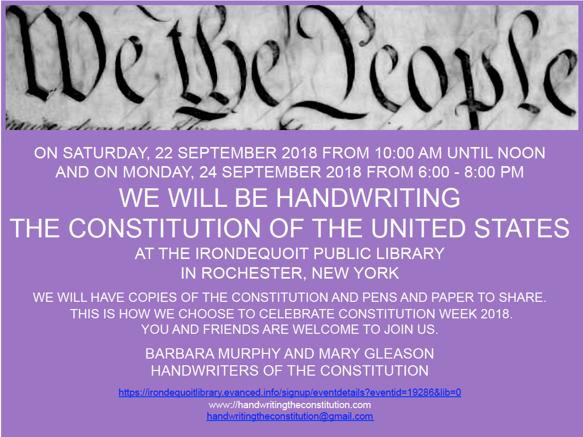 22 SEPTEMBER 2018rochester, NY - session 68collaborators barbara murphyand mary gleason