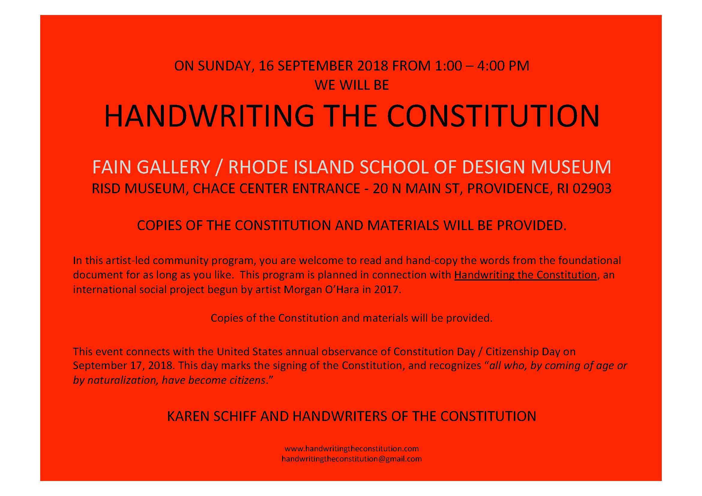 16 SEPtember 2018providence, RI - session 65collaborators karen Schiff and the rhode island school of design museum staff