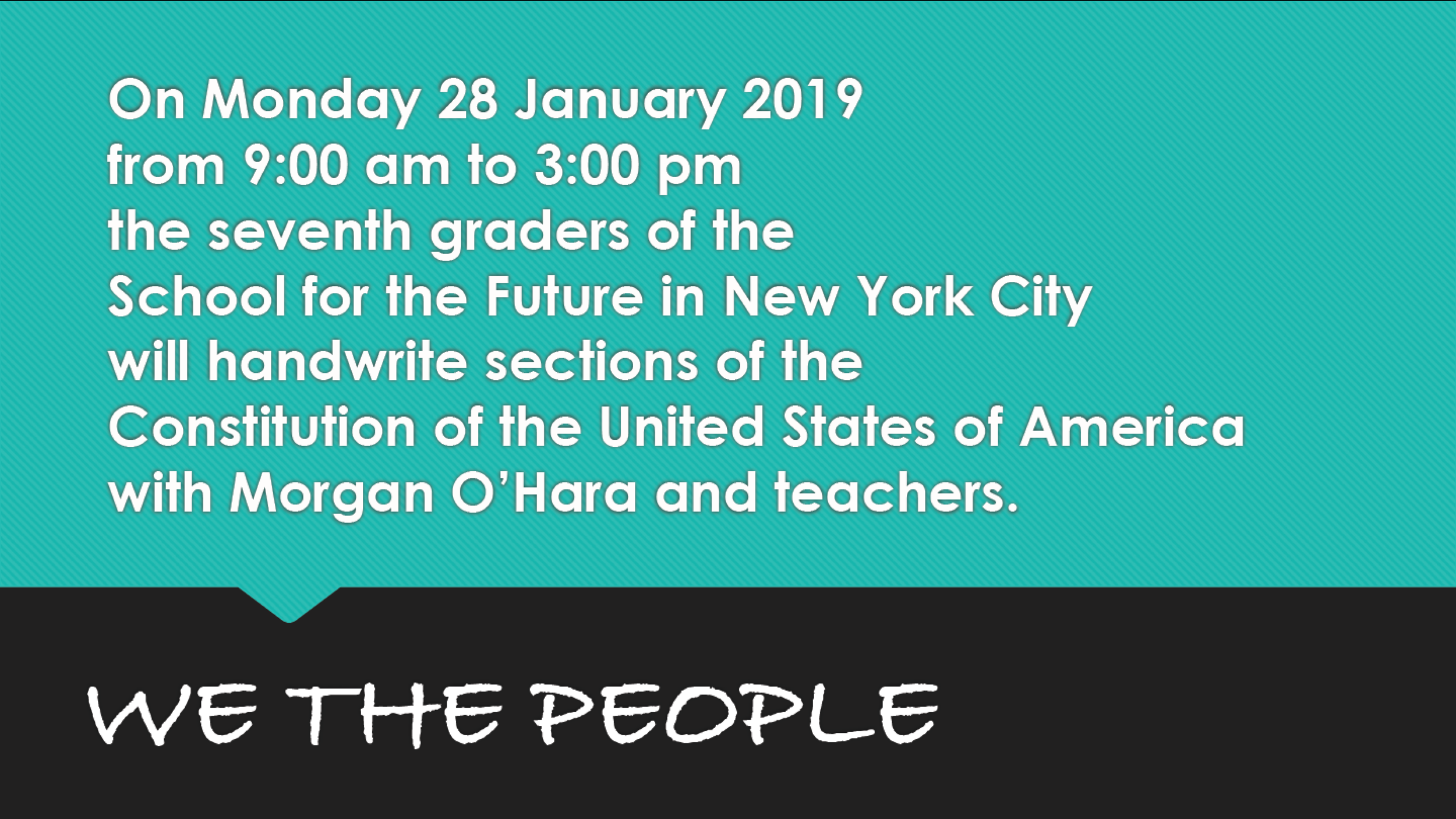 28 January 2019new york city - session 92with morgan o'hara and the school of the future