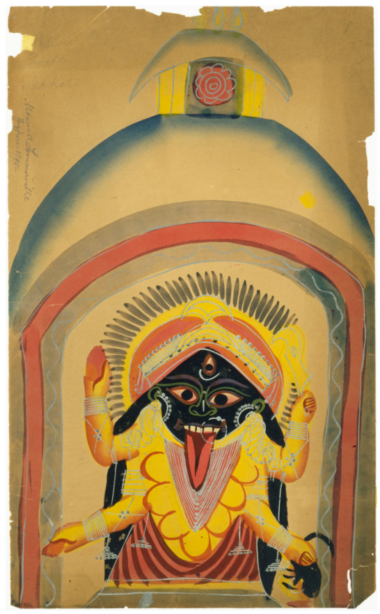 Kalighat painting on brown paper (ca. 19th-century), 18 x 11 inches. Calcutta. Courtesy of Penn Museum, image # 29-225-5. Bequest of Maxwell Sommerville.